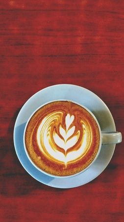 Late art 's middags koffie Stockfoto