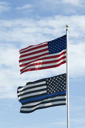American Flag with Blue Lives Matter Flag