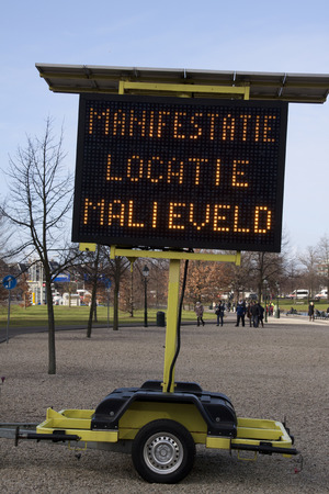occur: 27 januari 2015 Manifestation sign on Malieveld in The Hague used when demonstrations occur to warn people Stock Photo
