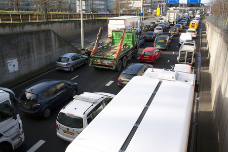 redirection: 27 januari 2015 traffic jam in the Kings tunnel at the malieveld in The Hague during demonstration