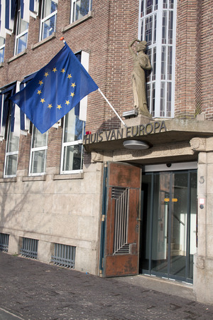 meeting place: 27 januari 2015 European Commission and the Information Office of the European Parliament in the Hague holland. meeting place where citizens could direct their questions about Europe Stock Photo