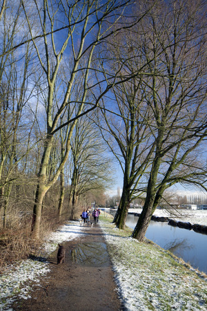 typically dutch: 301 january  2015  Rijswijk, Holland  2015 Typically dutch landscape people walking with their dogs on a frosty sunny morning