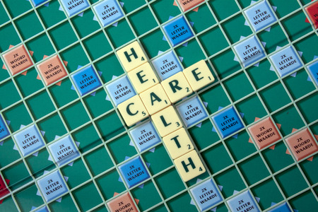 Health care placed with scrabble letters