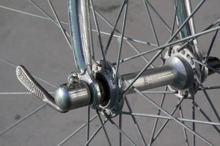 savety: classic bike wheel with spokes on a racebike Stock Photo