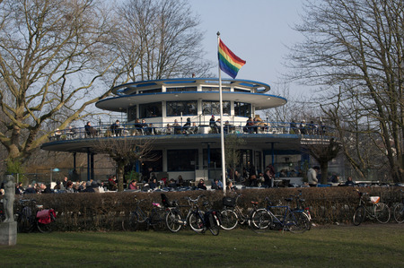 enyoing: 15 february 2015 Amsterdam, the Netherlands, restaurant the blue tea house in the vondelpark, people enyoing the wintersun