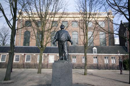 synagoge: 15 february 2015, Amsterdam the Netherlands statue of the Dokwerker at Jonas Daniël Meijerplein