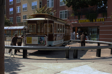 manually: San franisco,The USA-september 9,2008: The San Francisco cable car system is the last manually operated cable car which is still in use