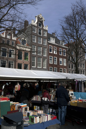 hard sell: Amsterdam,The Netherlands-march 7,2015: Books at the Waterloo square in Amsterdam