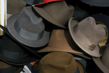 recuperate: Amsterdam,The Netherlands-march 7,2015: Hats at the Waterloo square in Amsterdam Editorial
