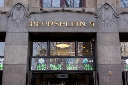 アムステルダム、オランダ 3 月 16,2015: のアムステルダム証券取引所は世界の最も古い金融貿易見本市の一つ。アムステルダム証券取引所、アムステ