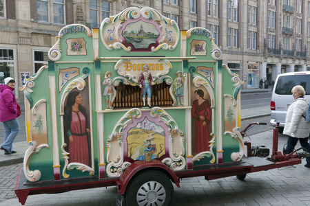 pipe organ: Amsterdam,The Netherlands-march 16,2015: A street organ is an automatic playing pipe organ. Besides an organ organ pipes may also have other instruments, eg drums.
