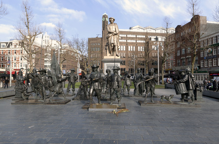 rembrandt: Amsterdam ,The Netherlands-march 23 , 2015: Statue of Rembrandt and the Night watch at the rembrandt square in Amsterdam
