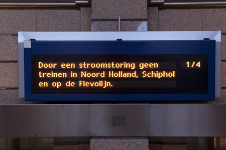 outage power: the hague , The Netherlands - march 27 , 2015:By a power outage there ride no trains in the Netherlands.railway sign at station Editorial