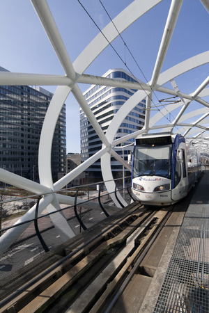 'the hague': The Hague,The Netherlands-march 30, 2015: Lightrail at the prinses beatrixlaan in the Hague holland Editorial