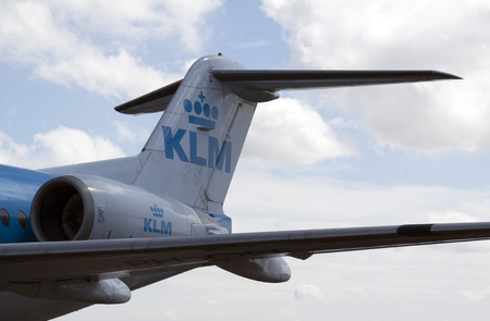 rear end: Amsterdamnetherlandsmay 12 2015: rear end of a KLM airplane with jet engine located at Schiphol airport in Amsterdam used as a museum plane Editorial