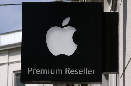 The Haguenetherlandsmay 27 2015: Sign at a wall or a premium reseller apple store in the hague holland