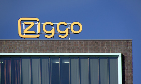 telephony: The Hague,Netherlands-June 9, 2015: Ziggo is the largest operator of cable television internet and telephony in the Netherlands