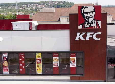 nancy,france-june 11, 2015:KFC Kentucky Fried Chicken Corporation is a fast food chain that sells chicken products, this is the establishment in Nancy