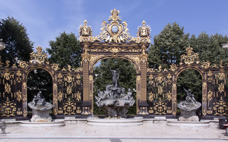 nancy,france-june 12, 2015:Place Stanislas with artfully wrought iron fencing in Nancy France Editorial