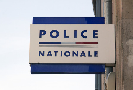bedoin: bedoin,france-june 12, 2015: Sign at a wall of the french police nationale in Nancy, France