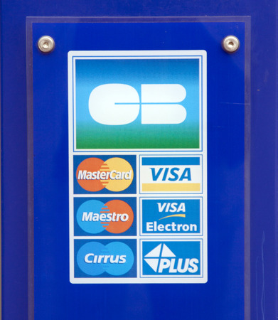 stated: bedoin,france-june 12, 2015: stated payment options with credit card Editorial