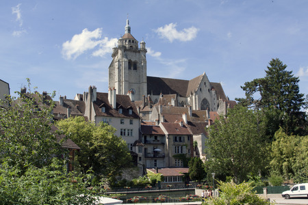 on the dole: Dole,france-june 13, 2015: Photography of the tanners district and the Notre-Dame de Dole in France Editorial