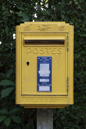 dole: Dole,france-june 13, 2015: vintage french post box in the city of dole