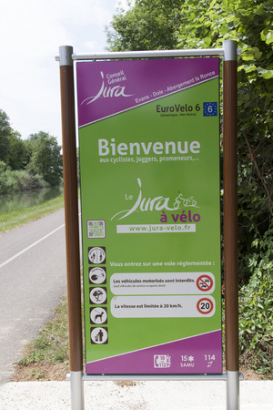 dole: Dole,france-june 14, 2015: EuroVelo 6, from the Atlantic to the Black Sea, is one of our most popular cycling routes this sign is located in Dole france