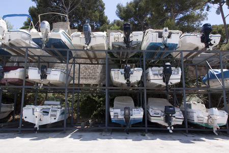 nice,france-june 21, 2015: boat storage in the harbour of nice france
