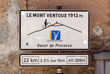 bedoin,france-june 28, 2015: road sign to the mont ventoux in bedoin france