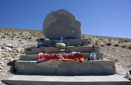 mount tom: mont ventoux,france-june 30, 2015:memorial for tom simpson at the mont ventoux in france