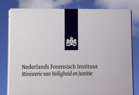 forensic: Amsterdam,netherlands-july 21, 2015: Sign of Dutch Forensic Institute is a laboratory in amsterdam the Netherlands does forensics, part of Ministry of Security and Justice Editorial
