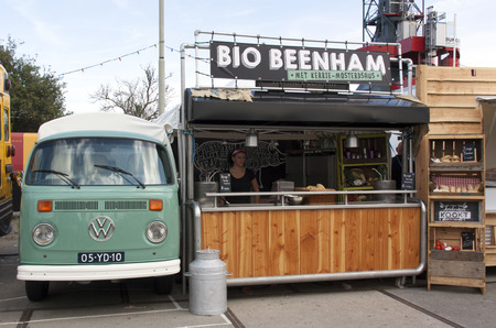 old truck: Amsterdam,Netherlands-july 31, 2015: Volkswagen t1 food truck selling ham in Amsterdam