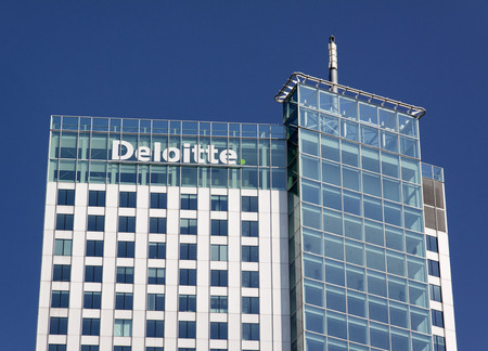 Rotterdam , Netherlands-august 13, 2015: Deloitte office in Rotteerdam deloitte does Tax Accounting, Consultanc and Financial advice Editorial