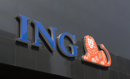 Rotterdam , Netherlands-august 13, 2015: ING Groep is a global financial institution of Dutch origin,this sign is located on a wall in Rotterdam
