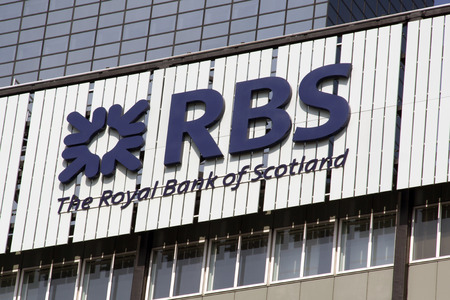 Amsterdam, Nederland-13 augustus 2015: The Royal Bank of Scotland of gewoon RBS is een bank-verzekeraar dit kantoor is gevestigd in Amsterdam