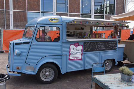 old truck: Amsterdam , Netherlands-july 31, 2015: Citroen HY food truck at a festival in Amsterdam Editorial