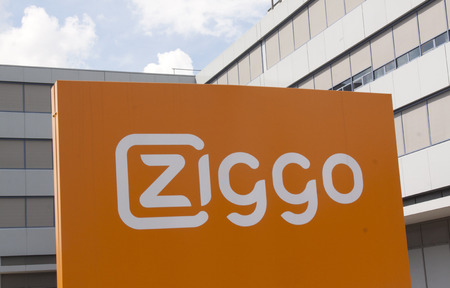 telephony: Amsterdam , Netherlands-august 20, 2015: Ziggo is the largest operator of cable television internet and telephony in the Netherlands
