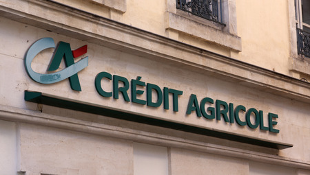 stemming: paris , France-september 14, 2015: Credit Agricole is a French cooperative bank partly stemming originally from the agricultural sector. This office is located in Paris