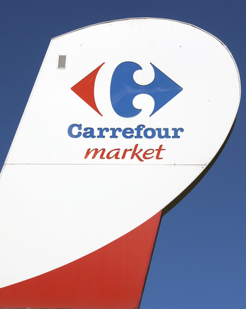 carrefour: paris , France-september 13, 2015: Sign of the Carrefour hypermarche in Paris Editorial