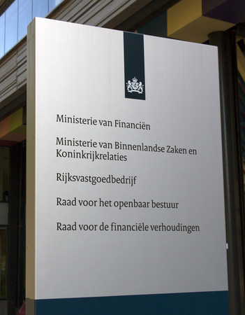 ministry: THe Hague , The Netherlands-september 26 , 2015: The Dutch Ministry of the Interior and Kingdom Relations and Ministry of Finance