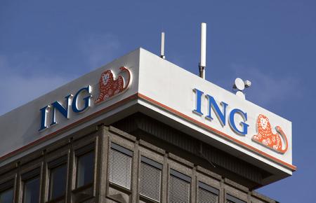 Amsterdam, Nederland-4 oktober 2015: gevel van de ING bank in Amsterdam Stockfoto - 45925625