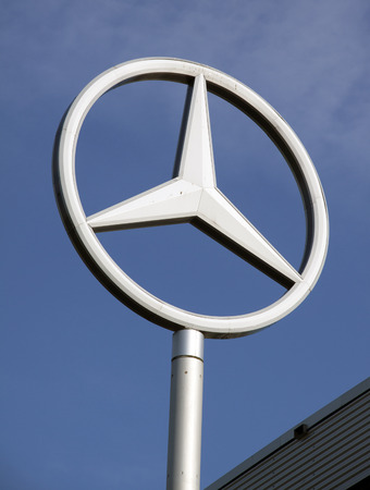 benz: Amsterdam, Netherlands-october 27, 2015: sign of Mercedes-Benz, a car manufacturer from Germany this sign is located in Amstedam