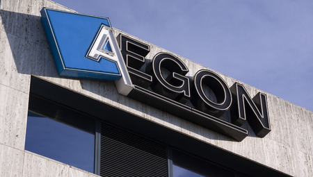 delivers: the Hague, Netherlands-november 24, 2015: Aegon headoffice in the hague, Aegon delivers life insurance, pension and asset management products.