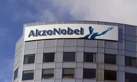 coatings: Amsterdam, Netherlands-december 14, 2015: Akzo Nobel is a Dutch multinational with activities in the fields of paints and coatings and chemicals Editorial
