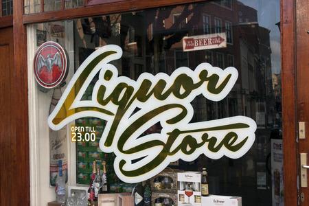 wine register: The Hague, Netherlands-December 23, 2015: facade or s liquor store in the Hague, Netherlands