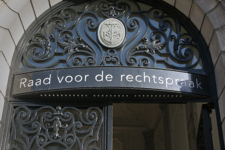 court of law: Amsterdam, Netherlands-januari 8, 2016: The Council for the Judiciary is the link between the Minister of Justice and the dutch courts.