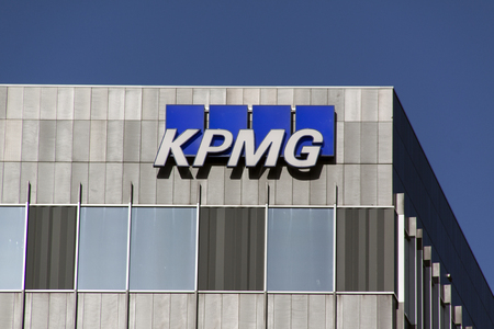 the hague, Netherlands-february 2, 2016: KPMG, an international accounting and consulting and services in the field of audit, tax and advisory