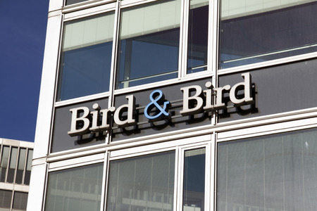 international law: the hague, Netherlands-february 17, 2016: facade of international law firm Bird & Bird