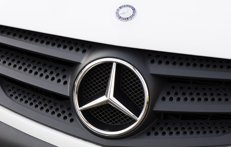 manufacturer: Amsterdam, Netherlands-march 26, 2016: Sign of Mercedes, Mercedes-Benz makes cars and -busjes, vans, buses, trucks and airplanes